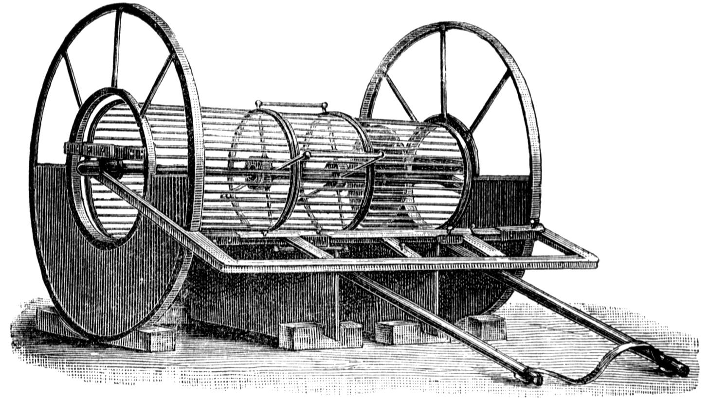 Vaglio per la crivellatura dei materiali, 1900 (fonte: Archivio leStrade - Casa Editrice La Fiaccola)