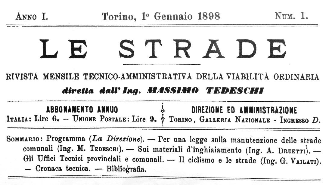 """Testata e sommario primo numero de """"Le Strade"""", 1 gennaio 1898 (fonte: Archivio leStrade - Casa Editrice La Fiaccola)"""