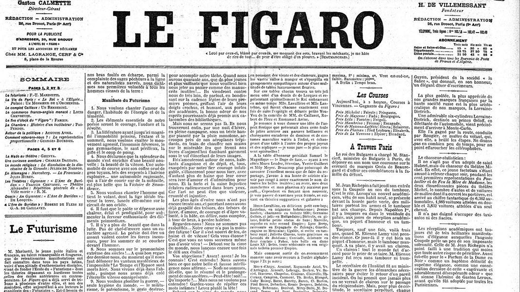 Le Figaro pubblica il Manifesto del Futurismo (20 febbraio 1909)