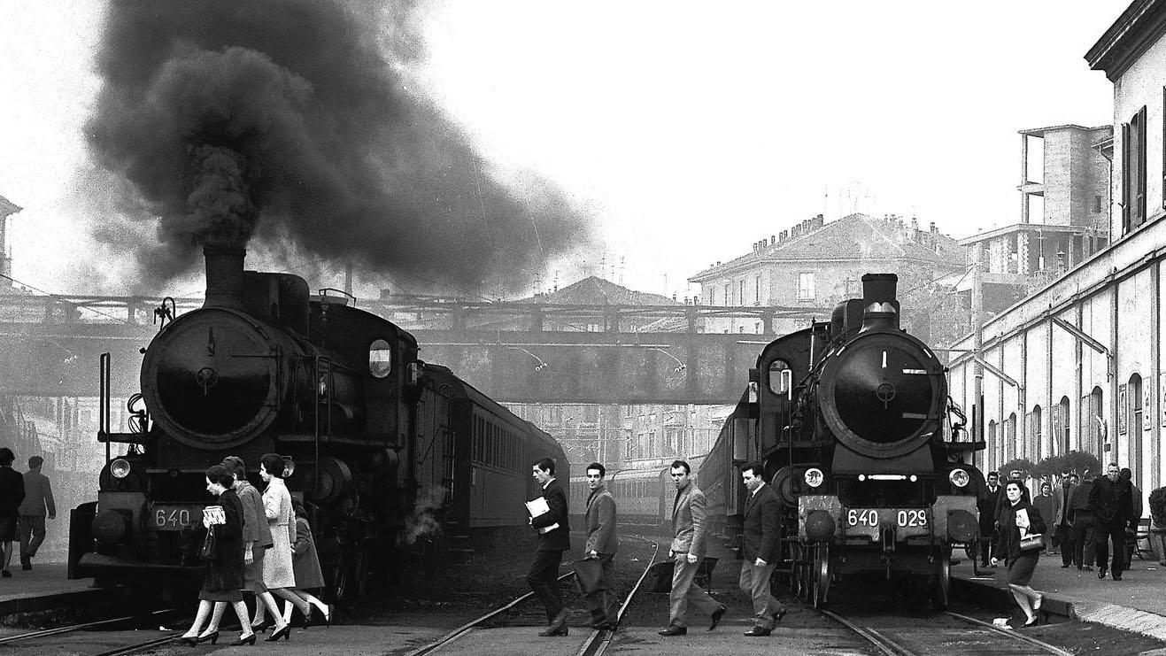Locomotive a vapore del gruppo 640 a Milano P. Genova (fonte: Ferrovie dello Stato Italiane)