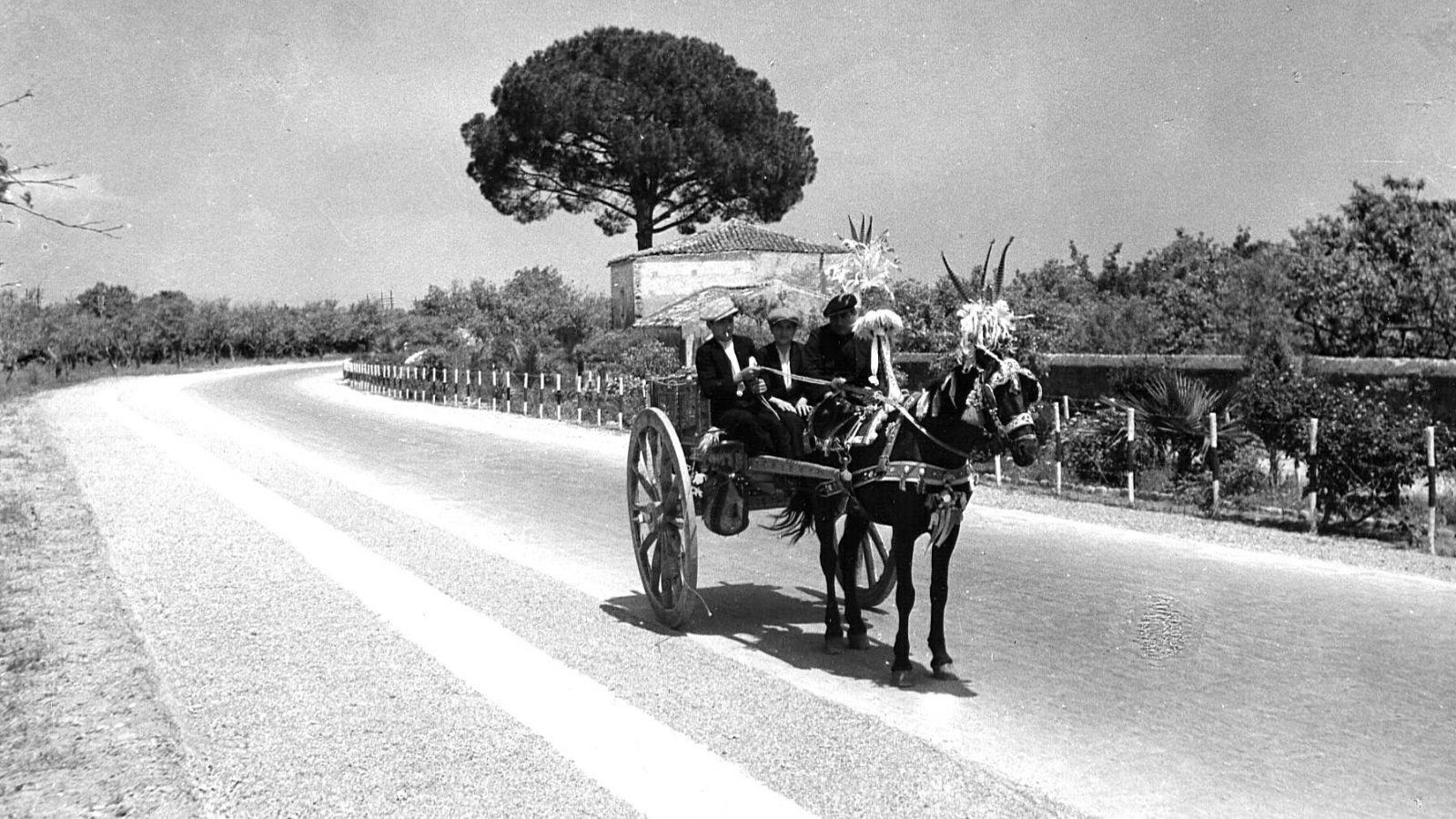 """Sicilia, foto degli anni '30 lungo la strada statale 114 """"Orientale Sicula"""", tra Catania e Messina (Archivio Storico Anas)"""