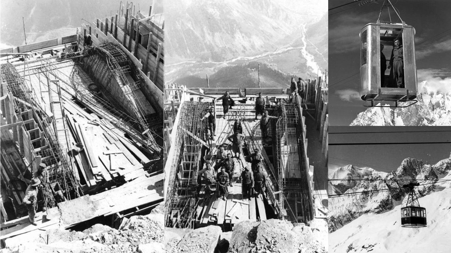 Immagini storiche della funivia del Monte Bianco (foto, fonte: montebianco.com)