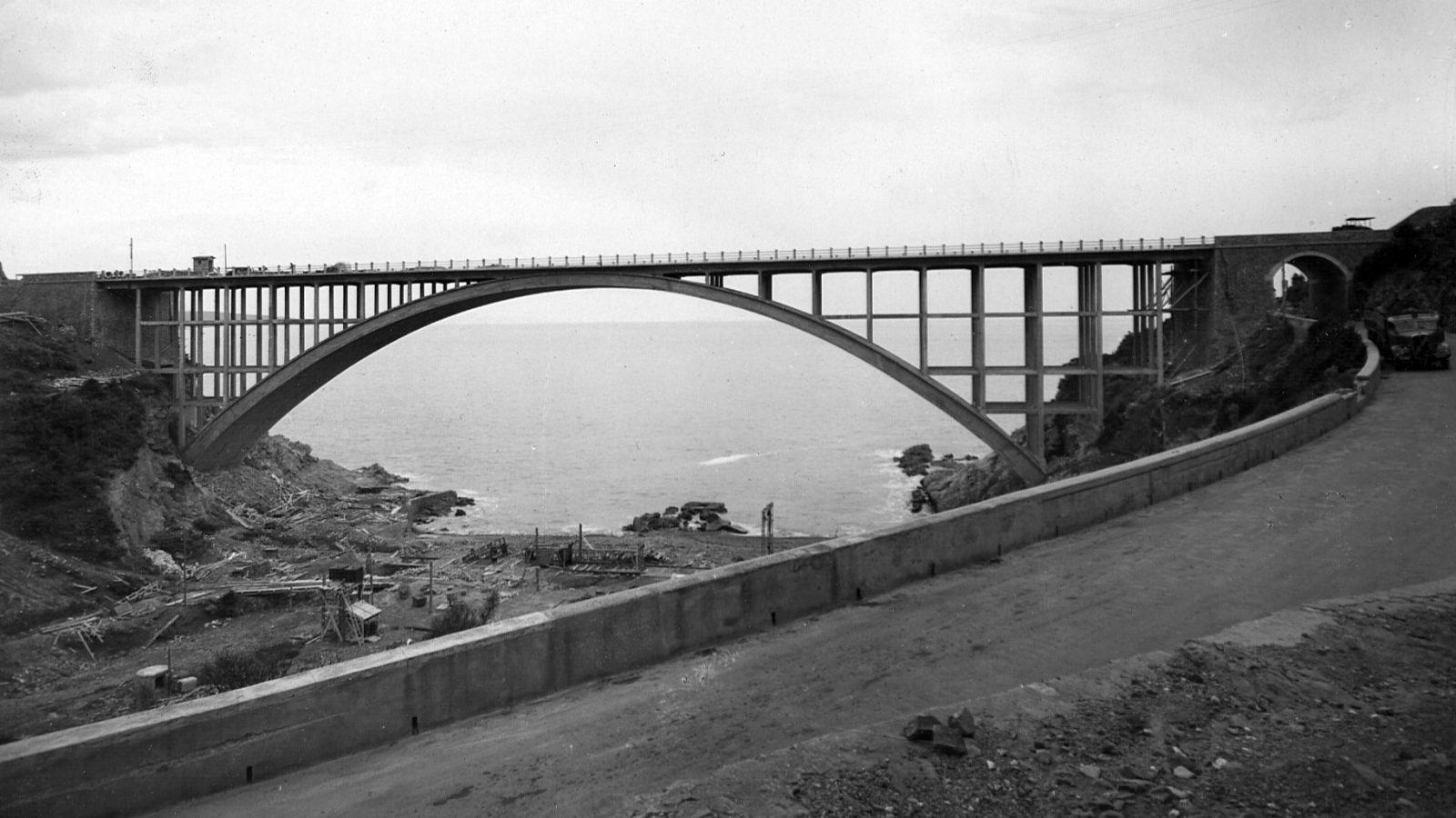 "Toscana, strada statale 1 ""Via Aurelia"", ponte Calignaia in provincia di Livorno, 1952 (Archivio storico Anas)"