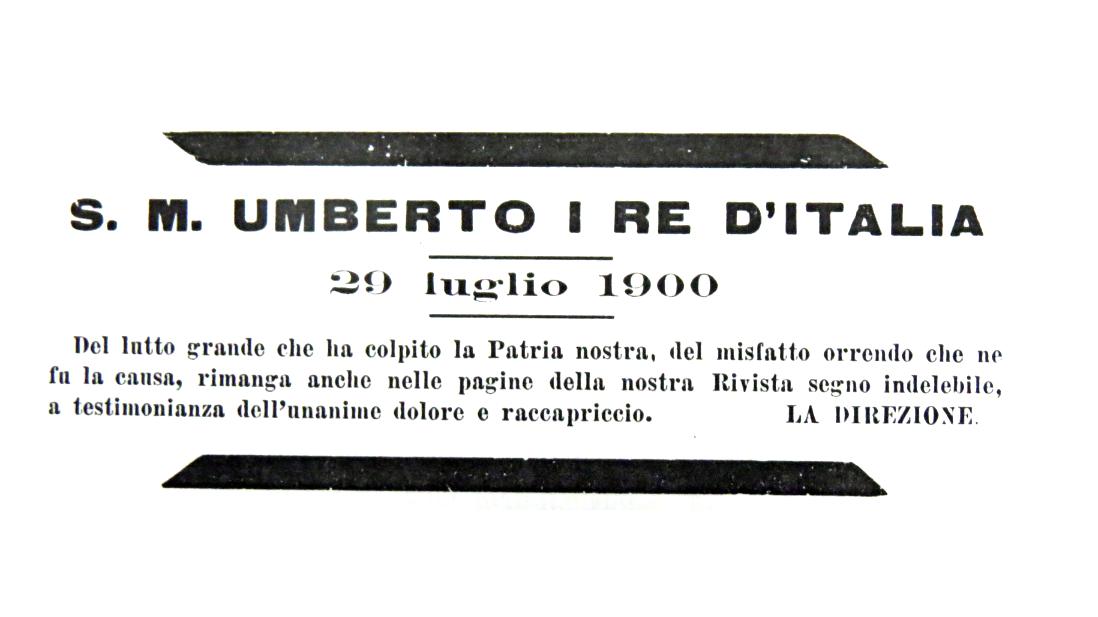 Le Strade, necrologio della morte del re Umberto I, 29 luglio 1900 (fonte: Archivio leStrade - Casa Editrice La Fiaccola)