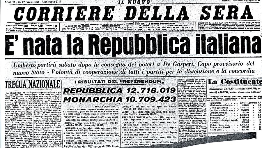 Il Corriere della Sera del 6 giugno 1946 annunciò la nascita della Repubblica (fonte: corriere.it)