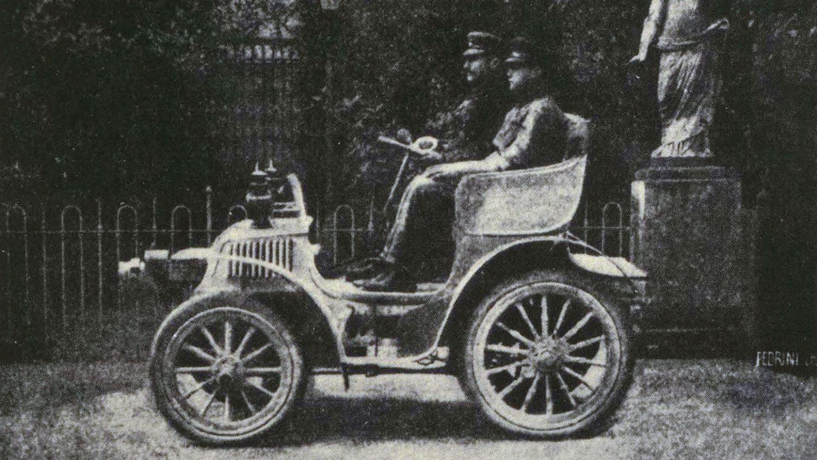 """Giro d'Italia in Automobile, il Cav. G. Agnelli ed il meccanico Felice Nazzari su FIAT 8HP (fonte: ACI, """"Automobile Club Torino: centodieci anni di emozioni"""")"""