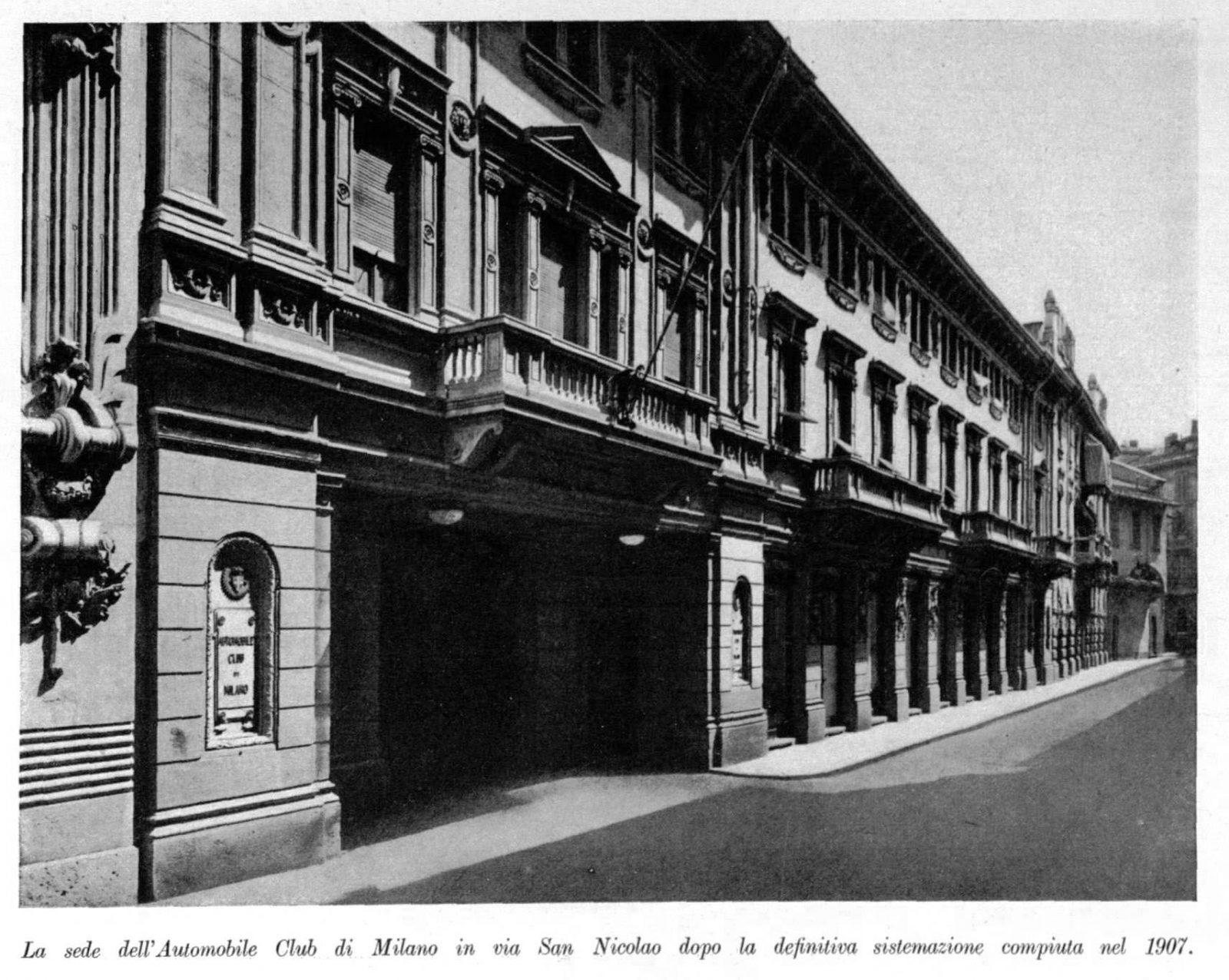 """La sede dell'Automobile Club di Milano nel 1907 (fonte: ACI, """"I cinquant'anni dell'automobile Club di Milano: 1903-1953"""")"""