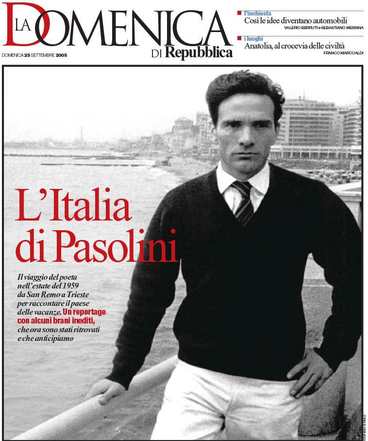 La Repubblica, prima pagina del 25 settembre 2005 (fonte: centrostudipierpaolopasolinicasarsa.it)