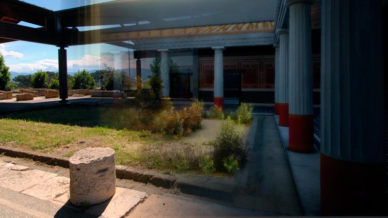 Villa dei Volusii, sito reale e ricostruzione 3D in trasparenza, realizzato da CNR ITABC (fonte: museovirtualevalletevere.it