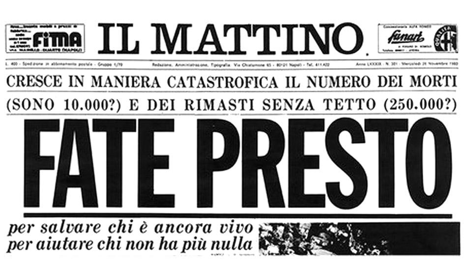 Terremoto in Irpinia, la prima pagina del quotidiano il Mattino