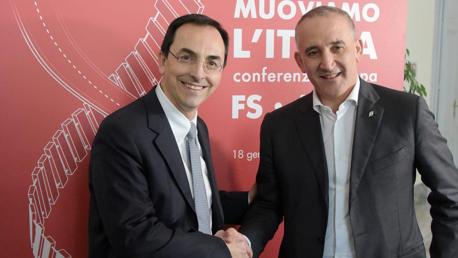Gianni Vittorio Armani e Renato Mazzoncini, Amministratore delegato del Gruppo Ferrovie dello Stato Italiane (Archivio storico Anas)