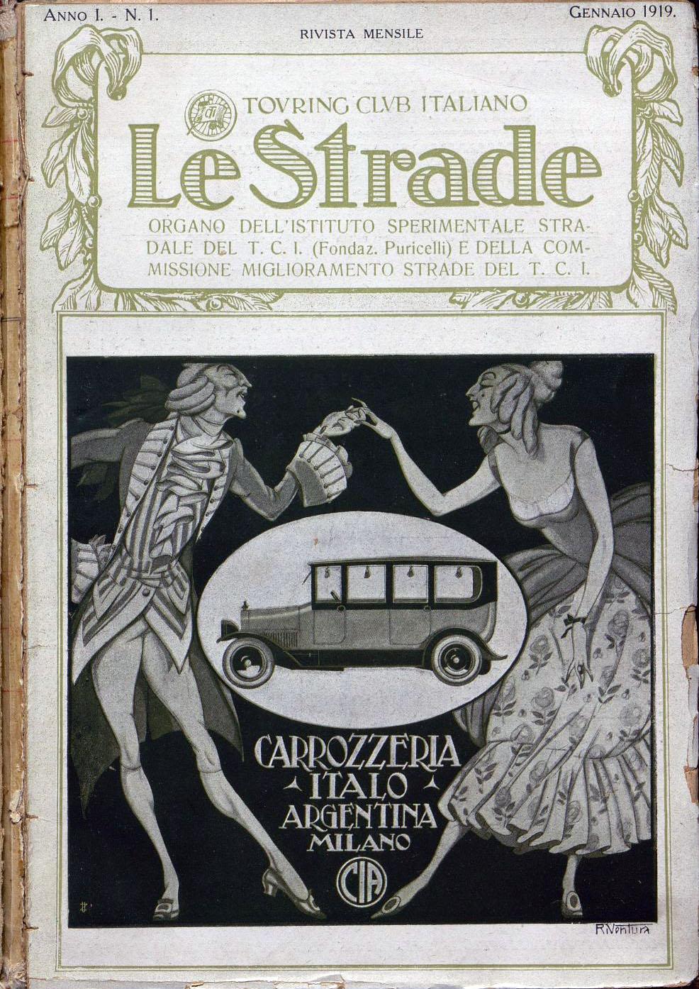 """Rivista """"Le strade"""", gennaio 1919 (fonte: Touring Club Italiano, digitouring.it)"""