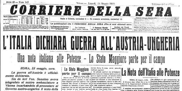 La prima  guerra mondiale nel 1915-1918, prima pagina del Corriere della Sera, 21 maggio 1915
