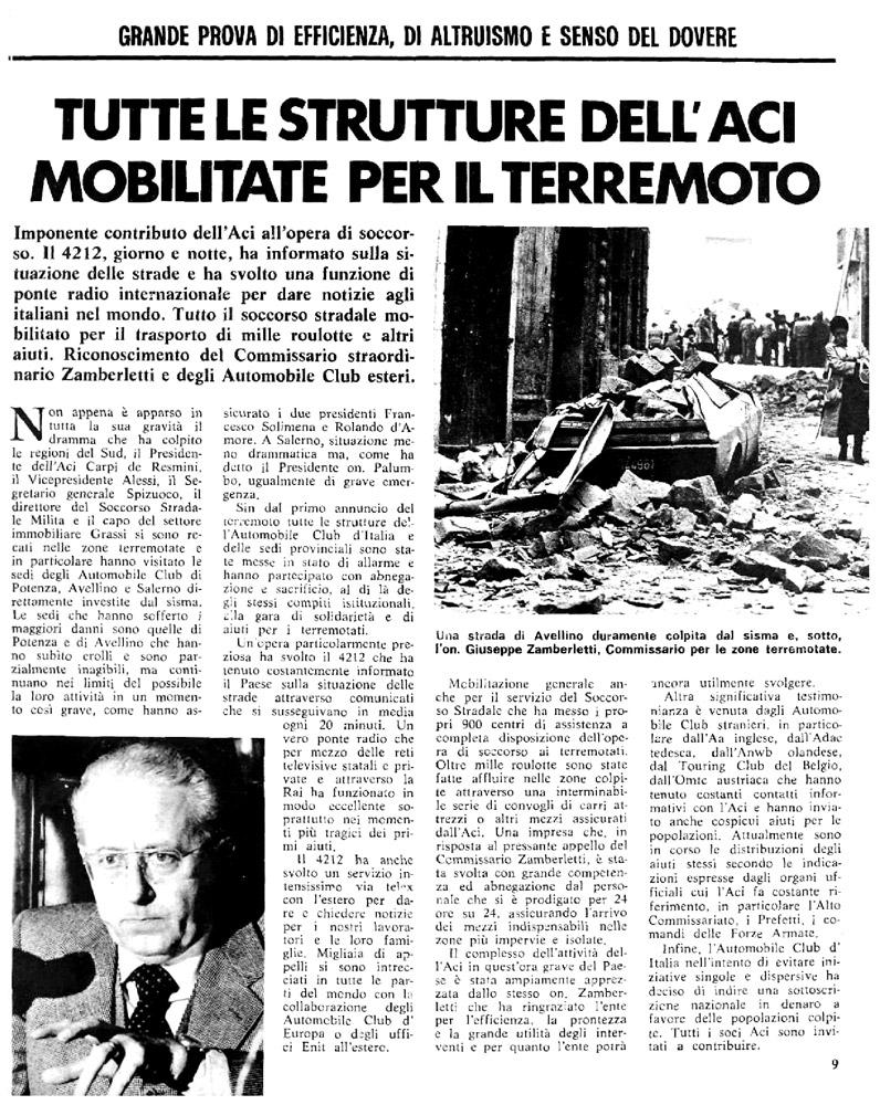 Terremoto in Irpini, articolo sul periodico L'automobile n.178 di Dicembre 1980 (fonte: bibliotecadigitale.aci.it)