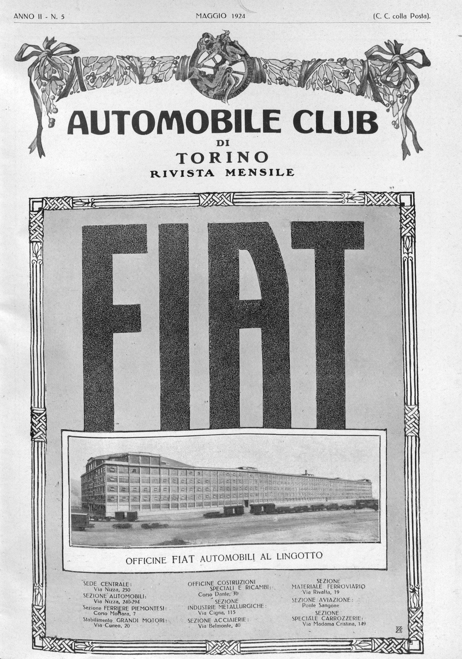 Stabilimento Fiat Lingotto, rivista mensile Automobile Club Torino, maggio 1924 (fonte: ACI)