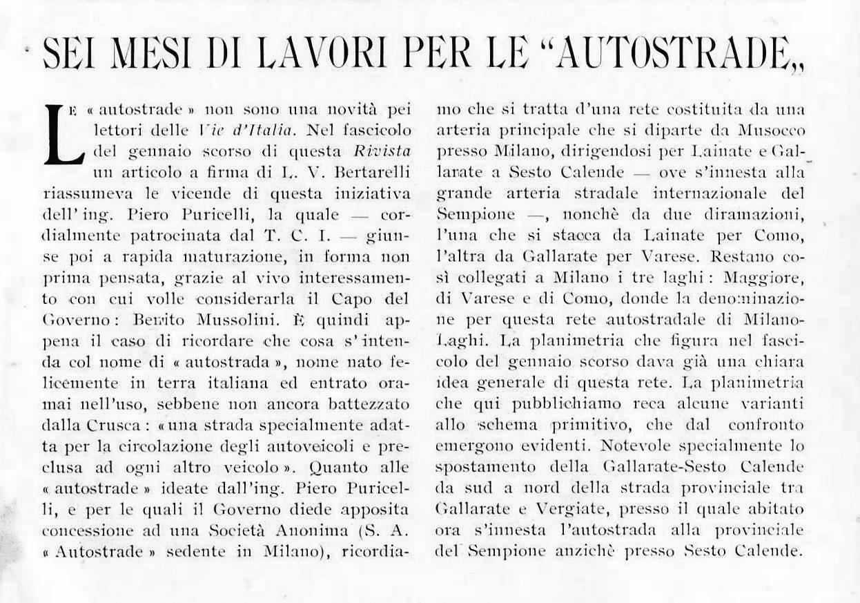 Articolo del 1925 a firma di Italo Vandone