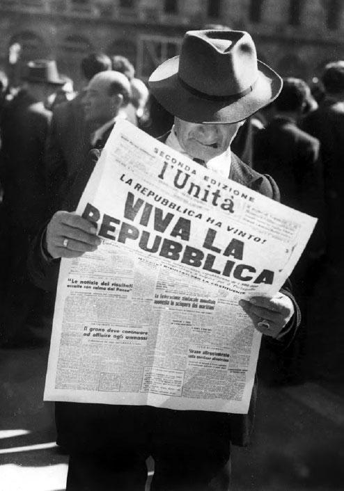 """Prima pagina del quotidiano l'Unità a seguito dei risultati del referendum istituzionale del 2 giugno 1946 (fonte: Ansa, """"La strada racconta"""", 2018)"""