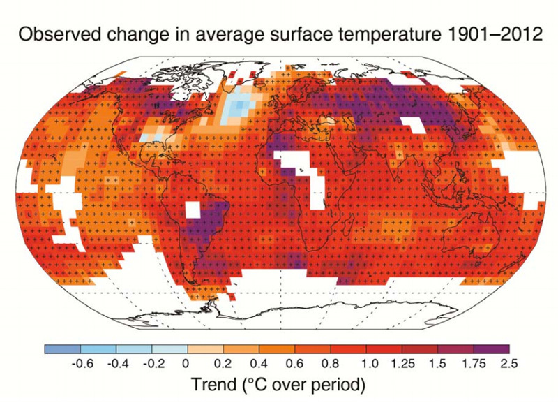 Variazione delle temperature della superficie terrestre tra il 1901 e il 2012,  Source: UN IPCC (fonte: bloomberg.com)