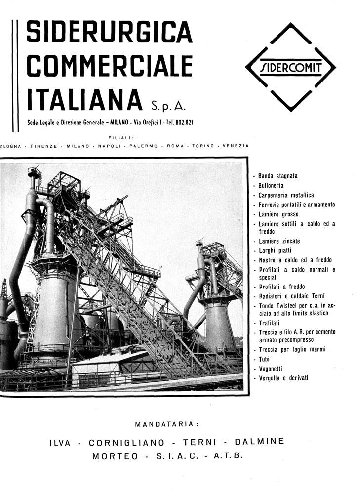 Pubblicità Sidercomit pubblicata nel 1954 su Via: rivista mensile edita dall'Automobile Club di Milano (fonte: ACI)