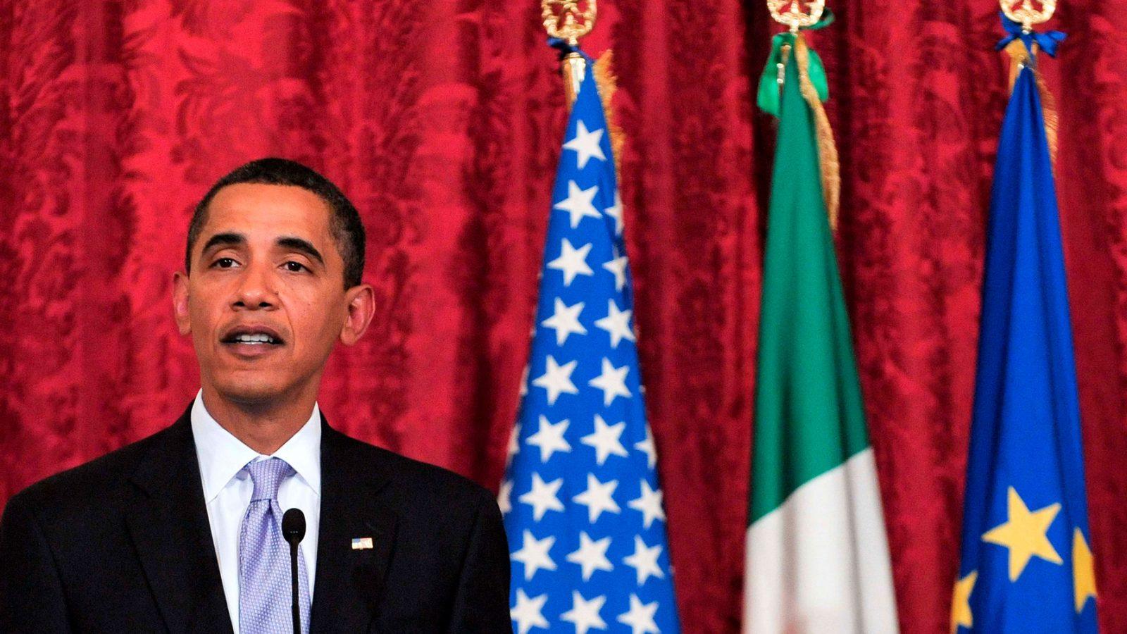 Barack Obama durante una visita in Italia (fonte: Imagoeconomica)