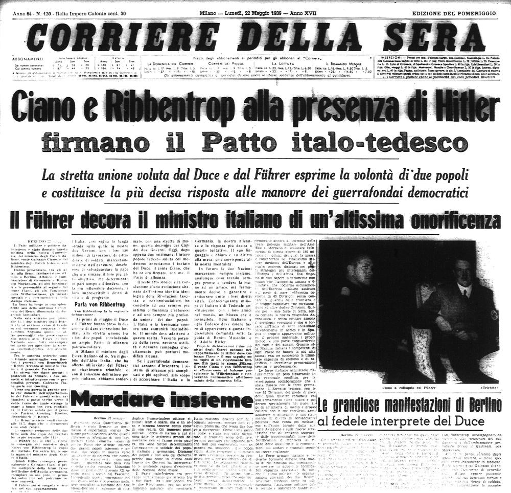Corriere della Sera, 22 maggio 1939: la firma del Patto italo-tedesco
