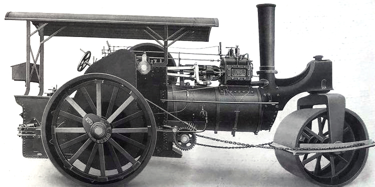 """Macchina con rullo di compattazione modello Breda, 1925  [fonte: """"Roads in Italy from Unification to the present (1861-1987)"""", 1987]"""