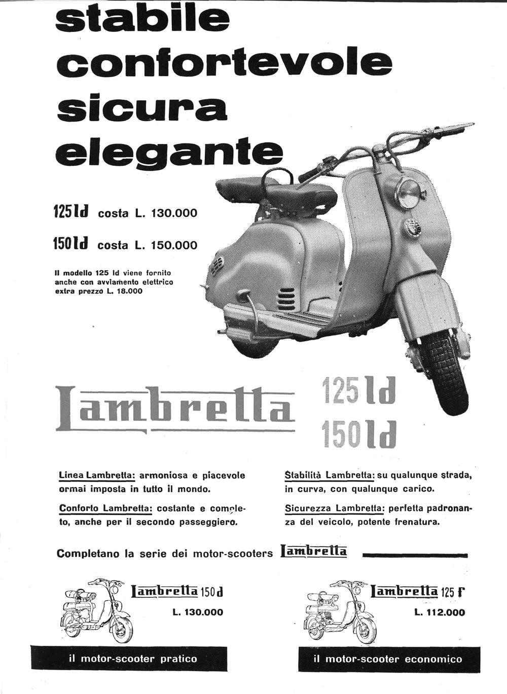 """Pubblicità della Lambretta su """"Via"""" (1956), rivista edita dall'Automobile Club di Milano (fonte: ACI)"""