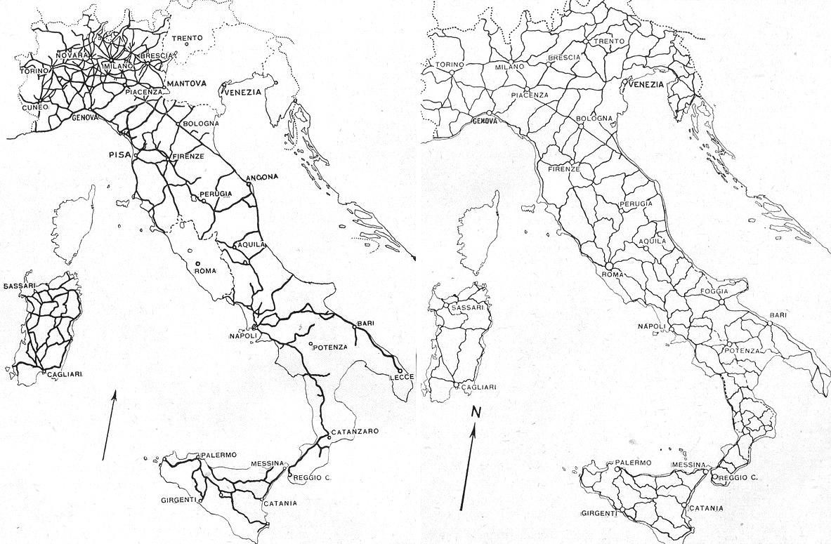 """La rete delle strade nazionali, agosto 1864 e agosto 1923 (fonte: """"Le Vie d'Italia"""", n.4 - aprile 1927)"""