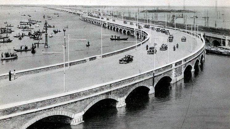 Venezia, inaugurazione dell'allora Ponte Littorio (Ponte della Libertà), 1933