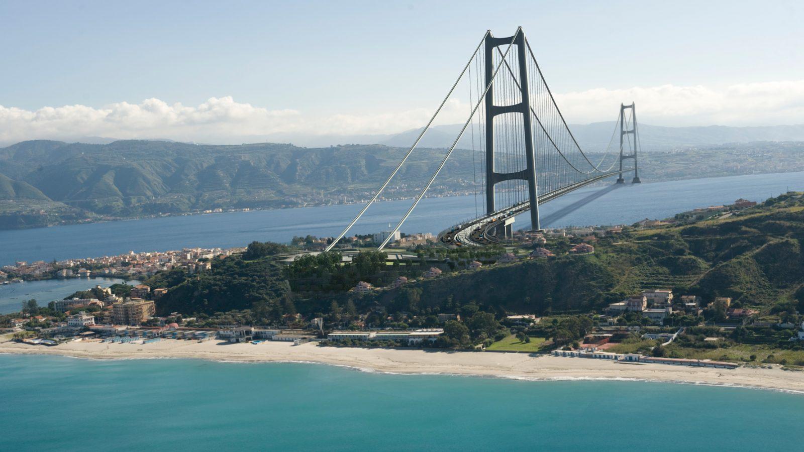 Ponte sullo Stretto di Messina – render del progetto definitivo Eurolink, blocchi d'ancoraggio, Sicilia (Società Stretto di Messina)