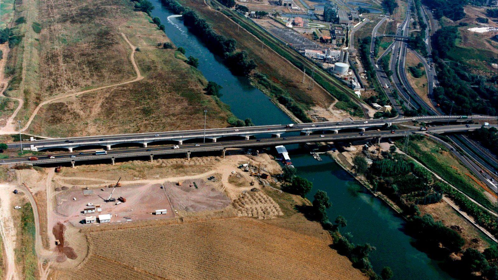 Grande Raccordo Anulare di Roma, veduta aerea del Ponte in località Mezzocammino (Archivio storico Anas)