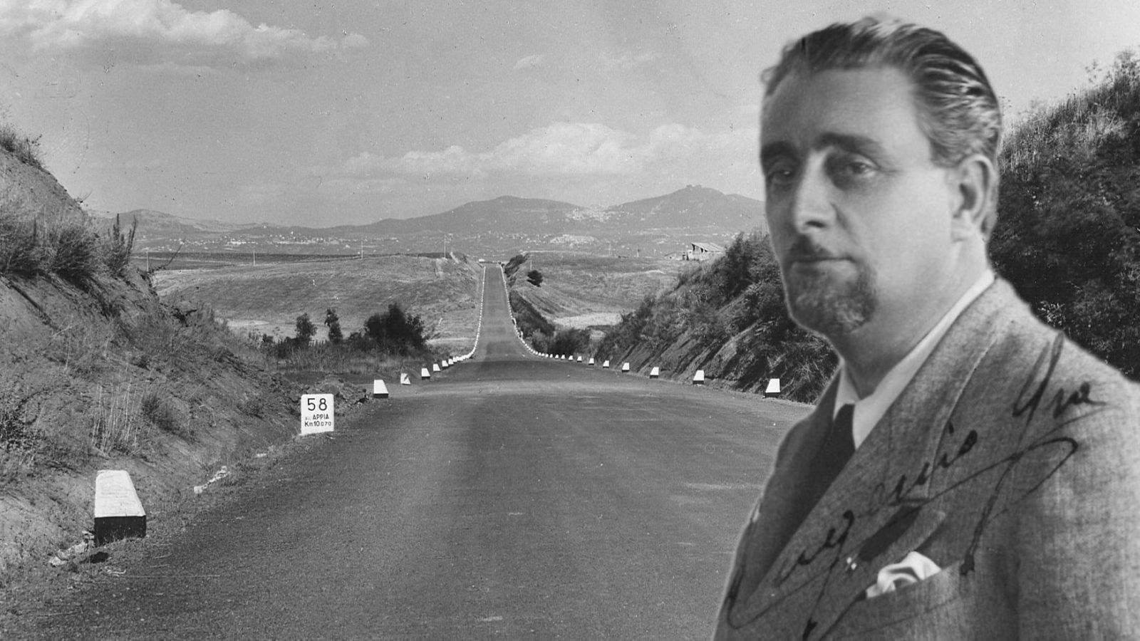 Foto di Eugenio Gra. Sullo sfondo, tratto del Grande Raccordo Anulare di Roma negli anni '50 (Archivio storico Anas)